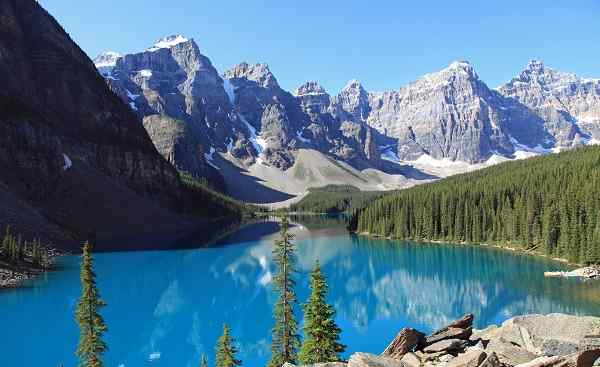 CAD-RM-HELI Kanada Alberta Banff National Park Beautiful Moraine Lake