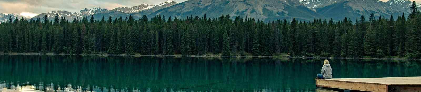 NORDWEST Enjoying the beautiful landscape by Annette Lake in Jasper National Park  Canadashutterstock 530657062